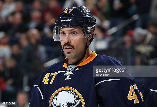Zach Bogosian of the Buffalo Sabres skates against the Dallas Stars during an NHL game on November 17 2015 at the First Niagara Center in Buffalo New...