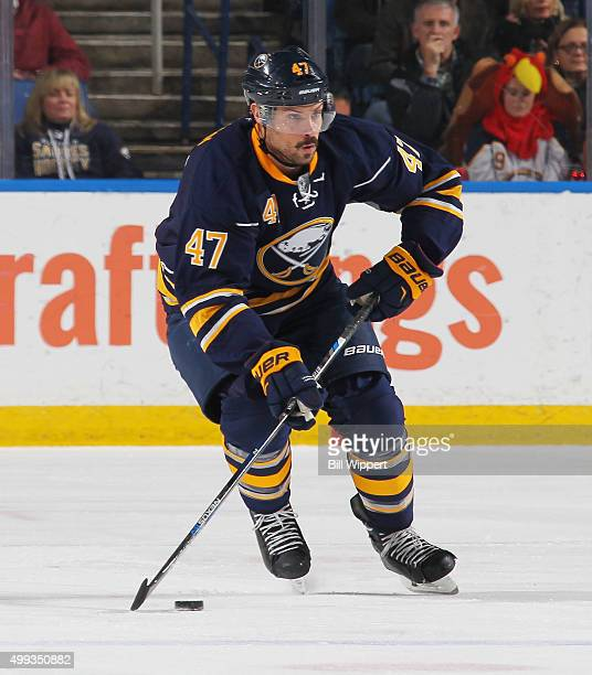 Zach Bogosian of the Buffalo Sabres skates against the Nashville Predators during an NHL game on November 25 2015 at the First Niagara Center in...