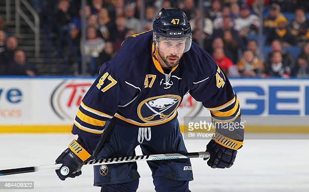 Zach Bogosian of the Buffalo Sabres skates against the New York Rangers on February 20 2015 at the First Niagara Center in Buffalo New York