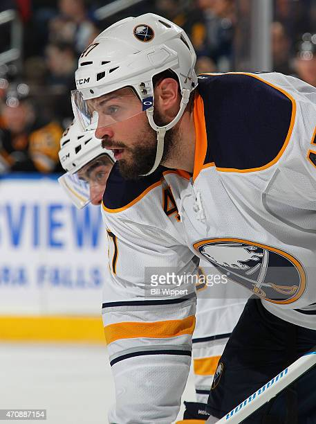 Zach Bogosian of the Buffalo Sabres skates against the Pittsburgh Penguins on April 11 2015 at the First Niagara Center in Buffalo New York