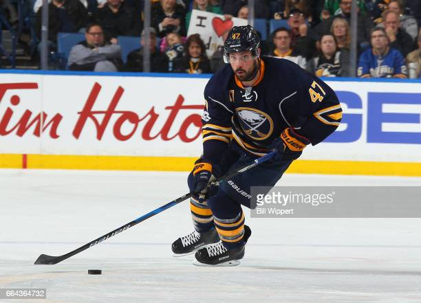 Zach Bogosian of the Buffalo Sabres skates against the Pittsburgh Penguins during an NHL game at the KeyBank Center on March 21 2017 in Buffalo New...