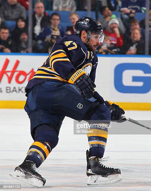 Zach Bogosian of the Buffalo Sabres skates against the Vancouver Canucks on February 26 2015 at the First Niagara Center in Buffalo New York