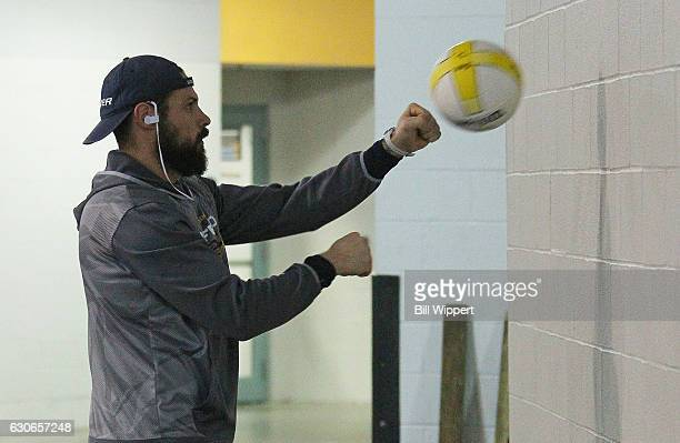 Zach Bogosian of the Buffalo Sabres warms up before an NHL game against the Boston Bruins at the KeyBank Center on December 29 2016 in Buffalo New...