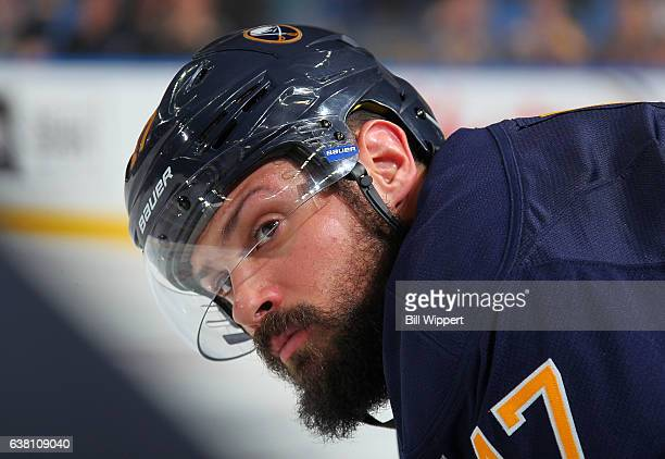 Zach Bogosian of the Buffalo Sabres watches the action against the Boston Bruins during an NHL game at the KeyBank Center on December 29 2016 in...