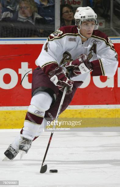 Zach Bogosian of the Peterborough Petes skates against the London Knights on January 25 2008 at the John Labatt Centre in London Ontario The Knights...