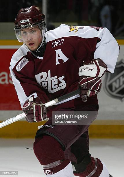 Zach Bogosian of the Peterborough Petes skates in a game against the Brampton Battalion on March 12 2008 at the Peterborough Memorial Centre in...
