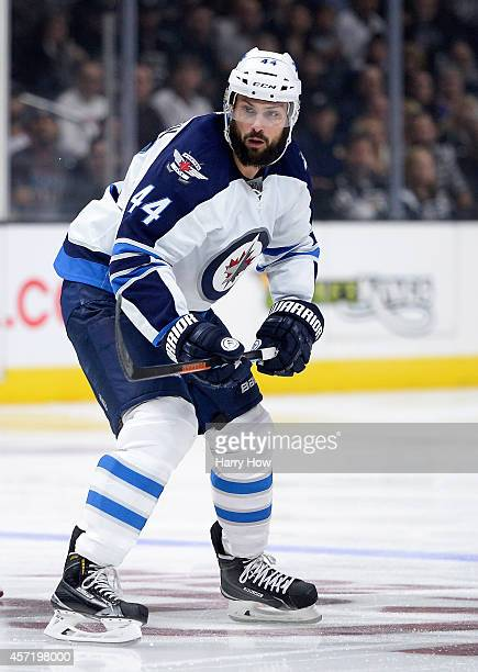 Zach Bogosian of the Winnipeg Jets forechecks during a 41 loss to the Los Angeles Kings at Staples Center on October 12 2014 in Los Angeles California