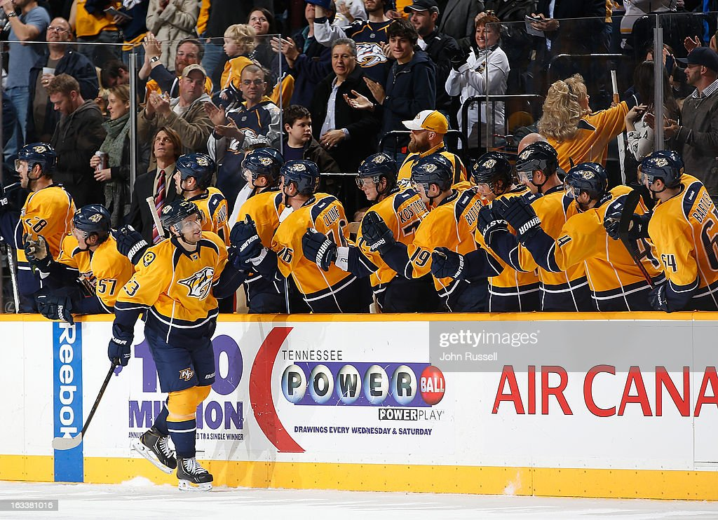 Zach Boychuk #23 of the Nashville Predators celebrates his goal along the bench against the Edmonton Oilers during an NHL game at the Bridgestone Arena on March 8, 2013 in Nashville, Tennessee.