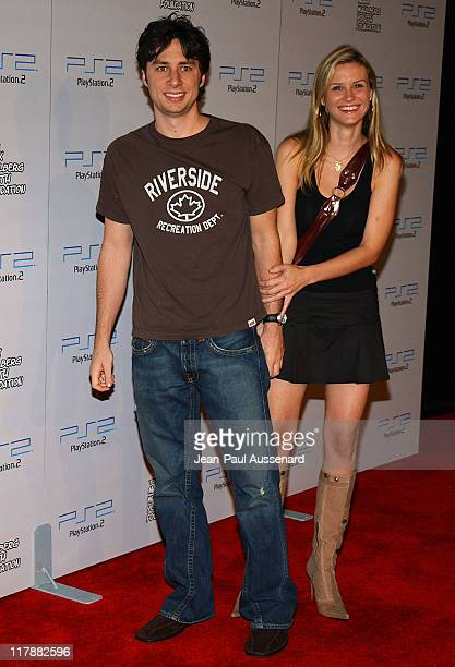 Zach Braff and Bonnie Somerville during Play Station 2 and Mark Wahlberg Host Celebrity Gaming Tournament for Charity Arrivals at Club Ivar in...