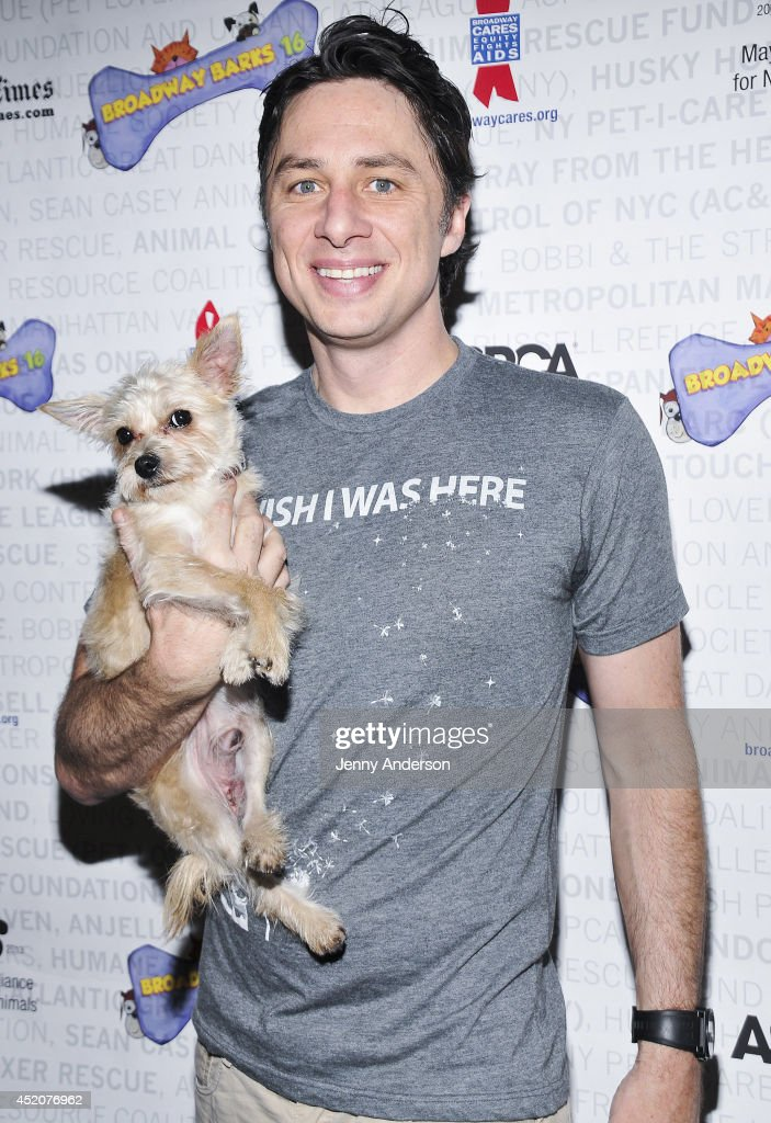 <a gi-track='captionPersonalityLinkClicked' href=/galleries/search?phrase=Zach+Braff&family=editorial&specificpeople=203253 ng-click='$event.stopPropagation()'>Zach Braff</a> and Taco the dog attend Broadway Barks 16 at Shubert Alley on July 12, 2014 in New York City.