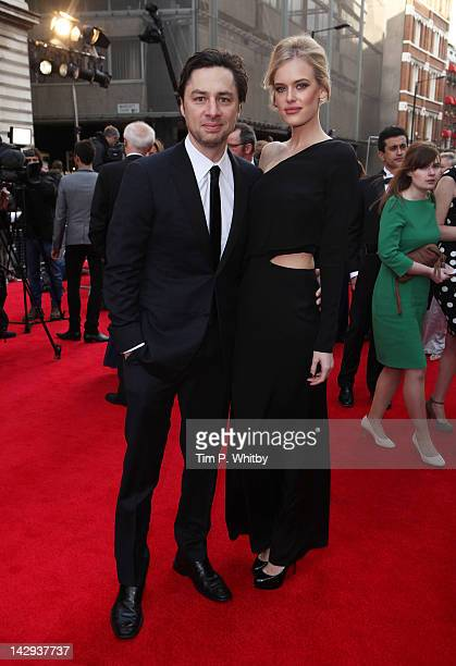 Zach Braff and Taylor Bagley attend the 2012 Olivier Awards at The Royal Opera House on April 15 2012 in London England