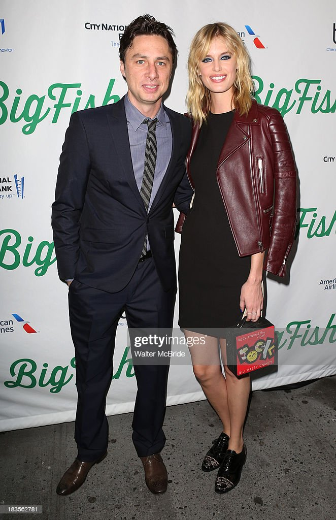 <a gi-track='captionPersonalityLinkClicked' href=/galleries/search?phrase=Zach+Braff&family=editorial&specificpeople=203253 ng-click='$event.stopPropagation()'>Zach Braff</a> and Taylor Bagley attend the 'Big Fish' Broadway Opening Night at Neil Simon Theatre on October 6, 2013 in New York City.