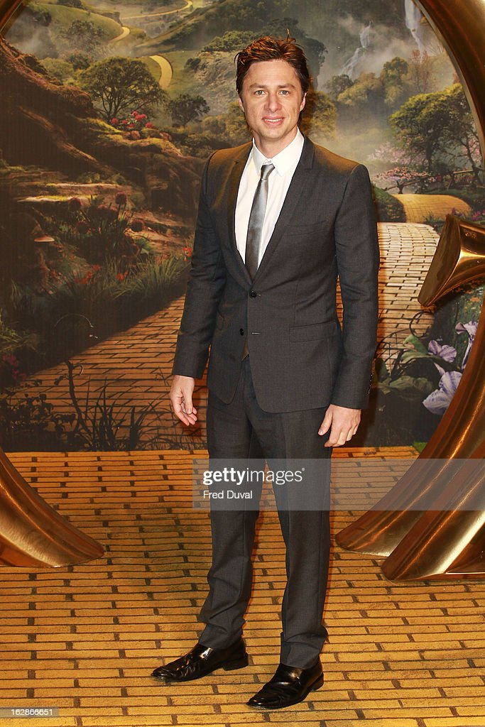 Zach Braff attends the European Film Premiere of 'Oz: The Great And Powerful' at The Empire Cinema on February 28, 2013 in London, England.
