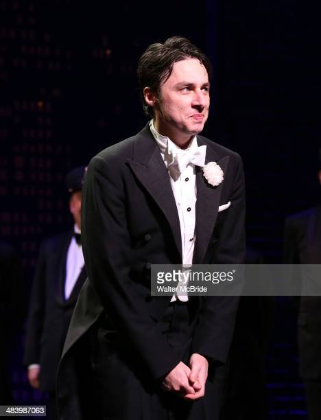 Zach Braff during the Broadway Opening Night Performance Curtain Call for ''Bullets Over Broadway'' at the St James Theatre on April 10 2014 in New...