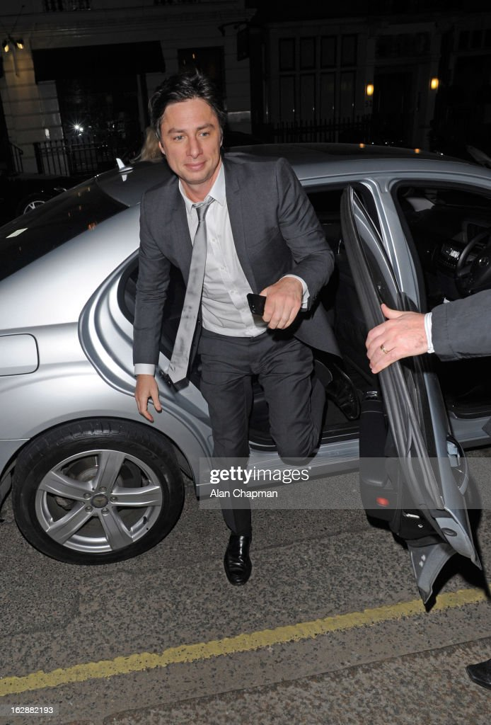 <a gi-track='captionPersonalityLinkClicked' href=/galleries/search?phrase=Zach+Braff&family=editorial&specificpeople=203253 ng-click='$event.stopPropagation()'>Zach Braff</a> sighting at Claridges on February 28, 2013 in London, England.