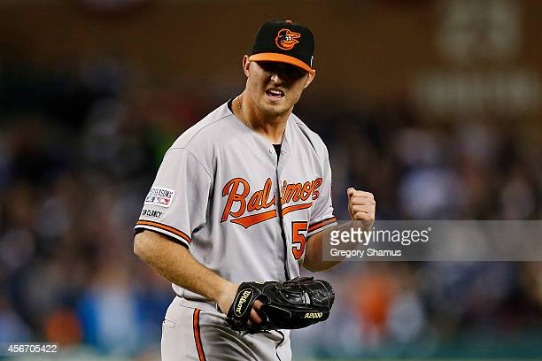 Zach Britton of the Baltimore Orioles celebrates their 2 to 1 win over the Detroit Tigers to sweep the series in Game Three of the American League...
