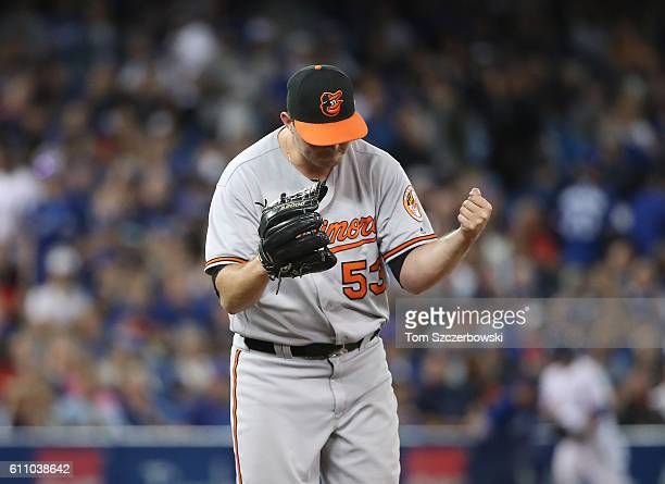 Zach Britton of the Baltimore Orioles celebrates their victory during MLB game action against the Toronto Blue Jays on September 28 2016 at Rogers...