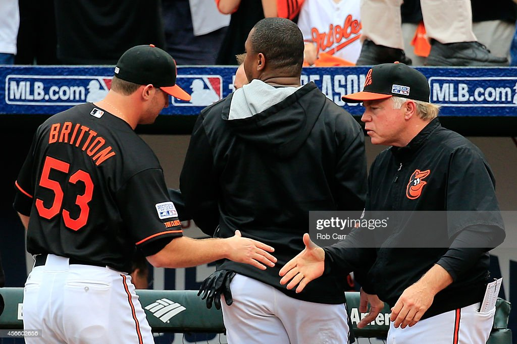 Zach Britton #53 of the Baltimore Orioles celebrates with manager Buck Showalter #26 after defeating the Detroit Tigers 7 - 6 in Game Two of the American League Division Series at Oriole Park at Camden Yards on October 3, 2014 in Baltimore, Maryland.
