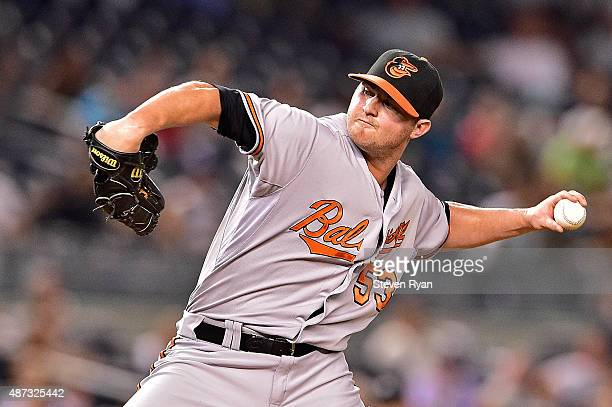 Zach Britton of the Baltimore Orioles delivers a pitch against the New York Yankees at Yankee Stadium on September 8 2015 in New York City The...