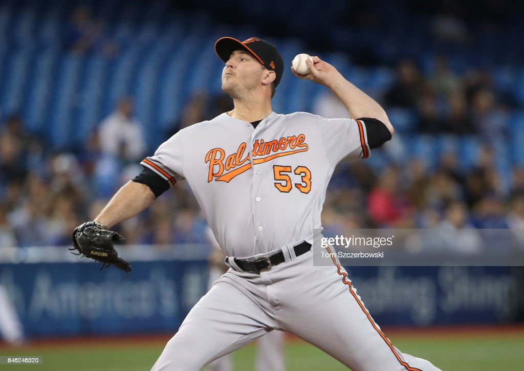 Zach Britton #53 of the Baltimore Orioles delivers a pitch in the eighth inning during MLB game action against the Toronto Blue Jays at Rogers Centre on September 12, 2017 in Toronto, Canada.