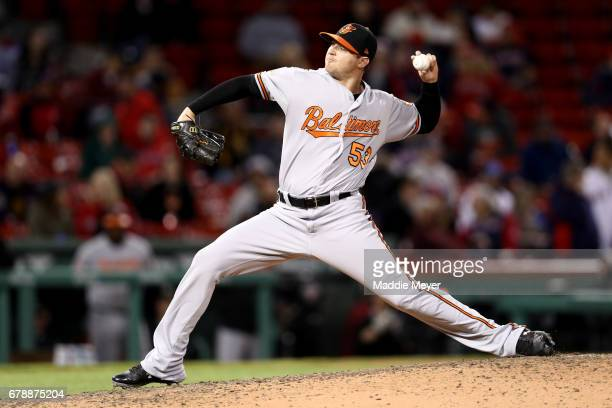 Zach Britton of the Baltimore Orioles pitches against the Boston Red Sox after defeating the Boston Red Sox 83 at Fenway Park on May 4 2017 in Boston...