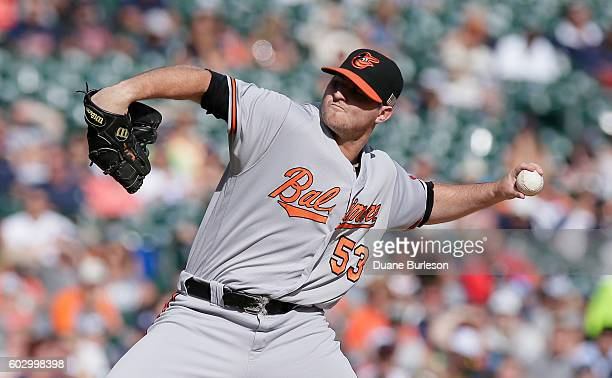Zach Britton of the Baltimore Orioles pitches against the Detroit Tigers during the ninth inning at Comerica Park on September 11 2016 in Detroit...