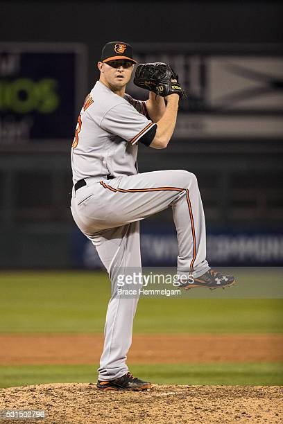 Zach Britton of the Baltimore Orioles pitches against the Minnesota Twins on May 10 2016 at Target Field in Minneapolis Minnesota The Orioles...