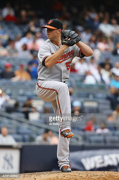 Zach Britton of the Baltimore Orioles pitches against the New York Yankees during their game at Yankee Stadium on May 9 2015 in New York City