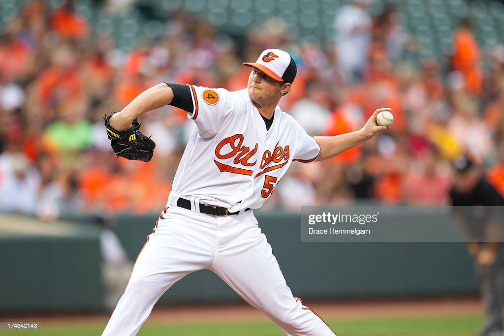<a gi-track='captionPersonalityLinkClicked' href=/galleries/search?phrase=Zach+Britton&family=editorial&specificpeople=7091505 ng-click='$event.stopPropagation()'>Zach Britton</a> #53 of the Baltimore Orioles pitches against the Texas Rangers on July 8, 2013 at Oriole Park at Camden Yards in Baltimore, Maryland. The Rangers defeated the Orioles 8-4.