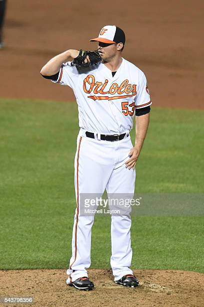 Zach Britton of the Baltimore Orioles pitches during game two of a doubleheader baseball game against the Tampa Bay Rays at Oriole Park at Camden...