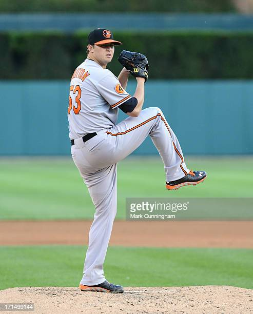 Zach Britton of the Baltimore Orioles pitches during the game against the Detroit Tigers at Comerica Park on June 18 2013 in Detroit Michigan The...