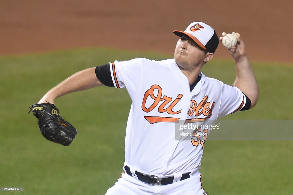 Zach Britton #53 of the Baltimore Orioles pitches for his 38th save in the ninth inning during a baseball game against the the Washington Nationals at Oriole Park at Camden Yards on August 22, 2016 in Baltimore, Maryland. The Oriole won 4-3.