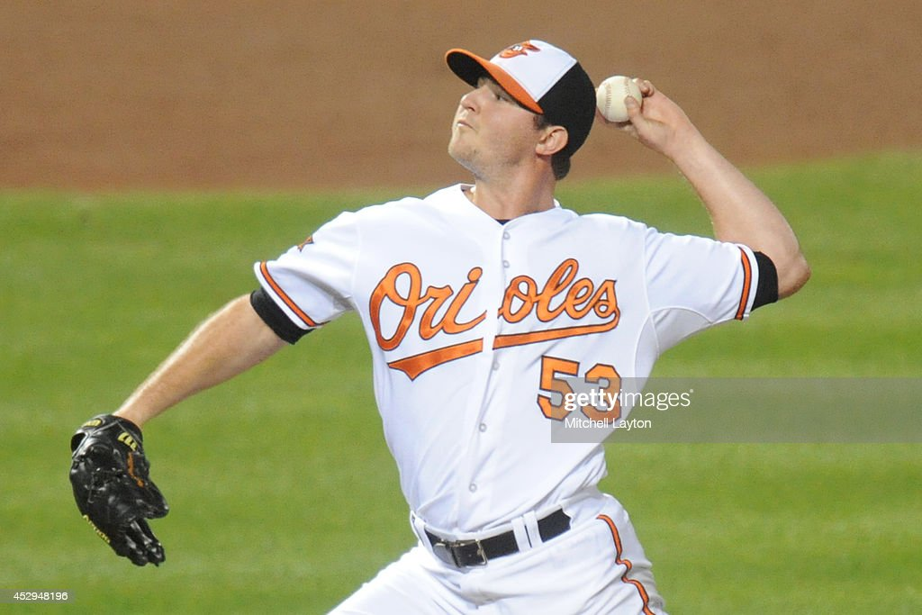 Zach Britton #53 of the Baltimore Orioles pitches in ninth inning for his 21st save of the season during a baseball game against the Los Angeles Angels of Anaheim on July 30, 2014 at Nationals Park in Baltimore, Maryland. The Orioles won 4-3.