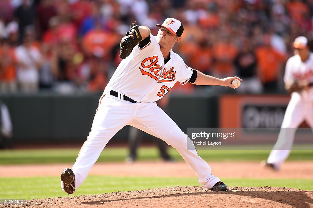 Zach Britton #53 of the Baltimore Orioles pitches in the ninth inning for his 27th save during a baseball game against the Los Angeles Angels of Anaheim at Oriole Park at Camden Yards on July 10, 2016 in Baltimore, Maryland. The Orioles won 4-2.