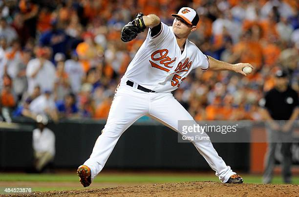 Zach Britton of the Baltimore Orioles pitches in the ninth inning against the New York Mets at Oriole Park at Camden Yards on August 19 2015 in...