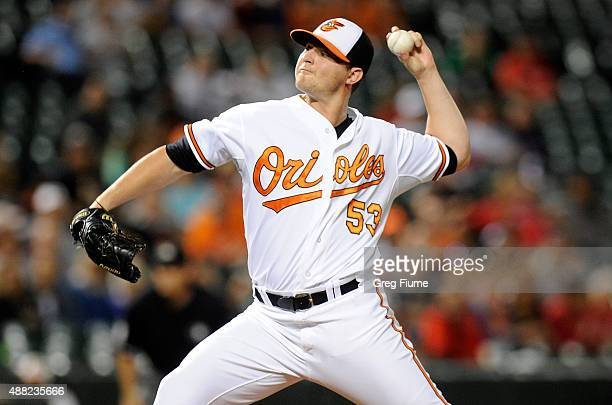 Zach Britton of the Baltimore Orioles pitches in the ninth inning against the Boston Red Sox at Oriole Park at Camden Yards on September 14 2015 in...