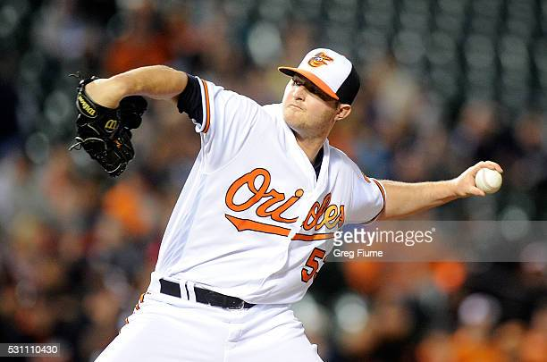 Zach Britton of the Baltimore Orioles pitches in the ninth inning against the Detroit Tigers at Oriole Park at Camden Yards on May 12 2016 in...