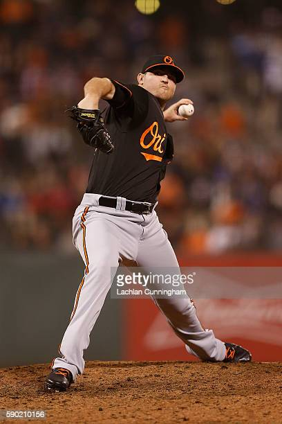 Zach Britton of the Baltimore Orioles pitches in the ninth inning against the San Francisco Giants during an interleague game at ATT Park on August...