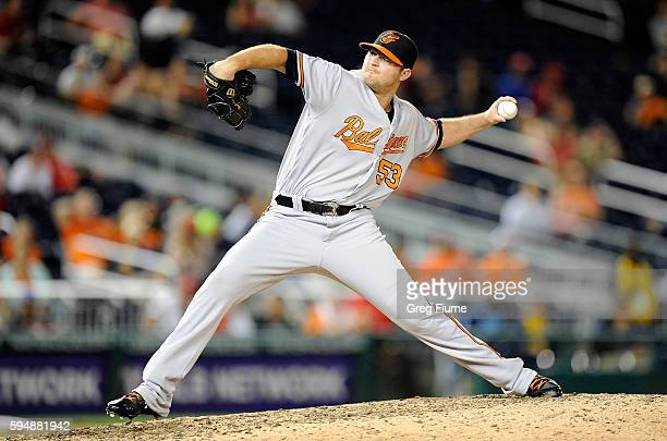 Zach Britton of the Baltimore Orioles pitches in the ninth inning against the Washington Nationals at Nationals Park on August 24 2016 in Washington...