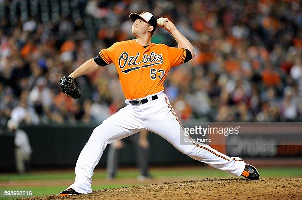 Zach Britton of the Baltimore Orioles pitches in the ninth inning against the New York Yankees at Oriole Park at Camden Yards on September 3 2016 in...