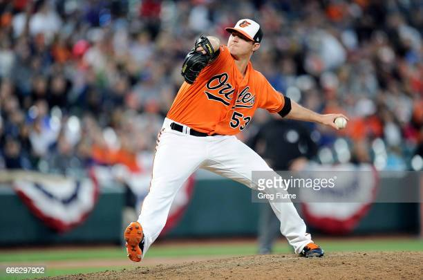 Zach Britton of the Baltimore Orioles pitches in the ninth inning against the New York Yankees at Oriole Park at Camden Yards on April 8 2017 in...