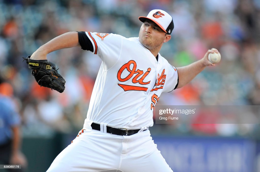 Zach Britton #53 of the Baltimore Orioles pitches in the ninth inning against the Oakland Athletics at Oriole Park at Camden Yards on August 23, 2017 in Baltimore, Maryland.