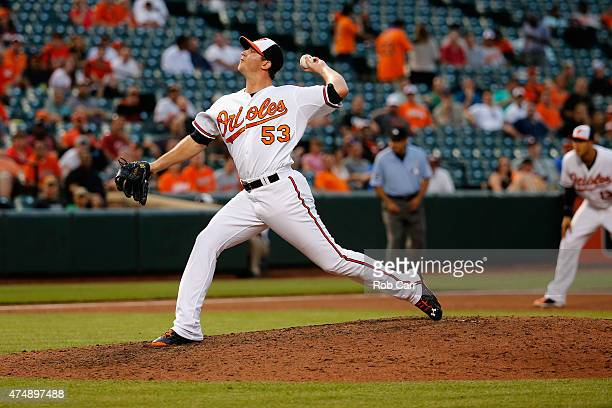 Zach Britton of the Baltimore Orioles pitches to a Houston Astros batter in the ninth inning of the Orioles 54 win at Oriole Park at Camden Yards on...