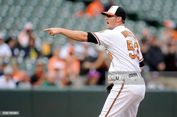 Zach Britton of the Baltimore Orioles reacts after the final out in a 31 victory against the New York Yankees at Oriole Park at Camden Yards on June...