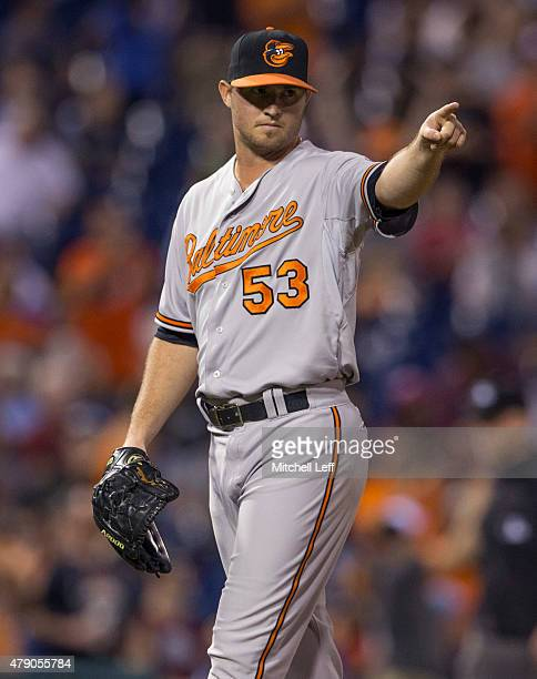 Zach Britton of the Baltimore Orioles reacts at the end of the game against the Philadelphia Phillies on June 17 2015 at the Citizens Bank Park in...