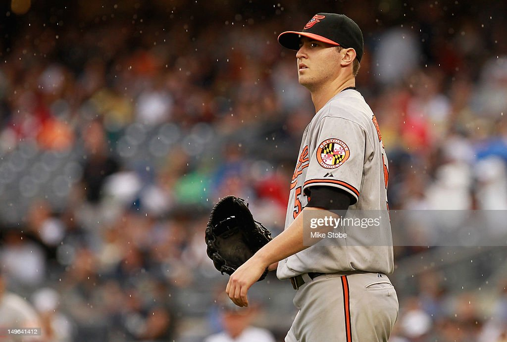 <a gi-track='captionPersonalityLinkClicked' href=/galleries/search?phrase=Zach+Britton&family=editorial&specificpeople=7091505 ng-click='$event.stopPropagation()'>Zach Britton</a> #53 of the Baltimore Orioles reacts to the action in the second-inning against the New York Yankees at Yankee Stadium on August 1, 2012 in the Bronx borough of New York City.