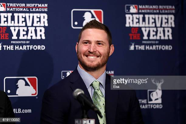 Zach Britton of the Baltimore Orioles smiles after being named the 2016 Mariano Rivera American League Reliever of the Year Award winner before Game...