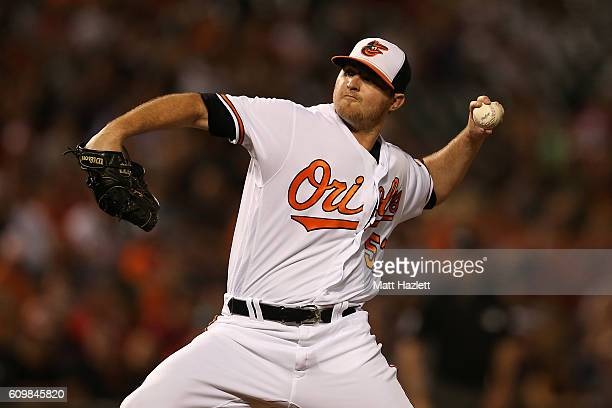 Zach Britton of the Baltimore Orioles works in the ninth inning against the Boston Red Sox at Oriole Park at Camden Yards on September 22 2016 in...