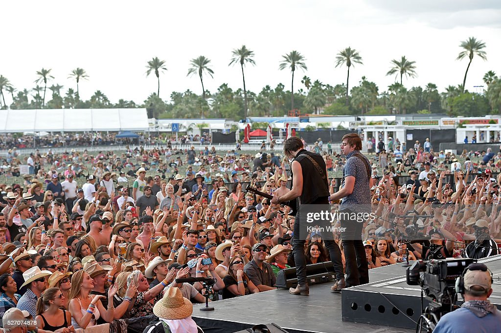 Zach Brown (L) and Bill Satcher of A Thousand Horses performs onstage during 2016 Stagecoach California's Country Music Festival at Empire Polo Club on May 01, 2016 in Indio, California.