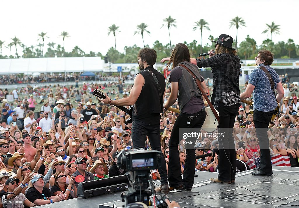 Zach Brown, Graham Deloach, Michael Hobby and Bill Satcher of A Thousand Horses performs onstage during 2016 Stagecoach California's Country Music Festival at Empire Polo Club on May 01, 2016 in Indio, California.